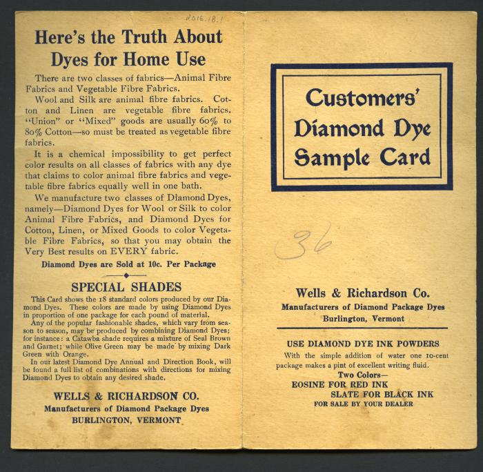 Customers' Diamond Dye Sample Card